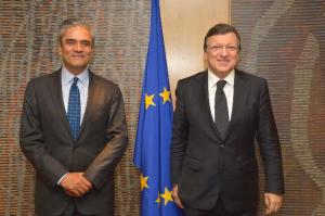 José Manuel Barroso, President of the EC, received Anshu Jain, co-Chairman of the Management Board of the Deutsche Bank