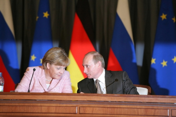 Angela Merkel, German Federal Chancellor and Vladimir Putin, President of Russia attending the EU-Russia Summit.