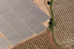 A photovoltaic powerplant in Portugal, covering fertile land.