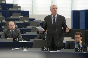 Michel Barnier, member of the European Commission responsible for Internal Market and Services speaks in the Plenary Session of the European Parliament in favour of tougher rules for credit rating agencies. (European Parliament Audiovisual Services, 16.1.2013).