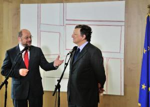 José Manuel Barroso, President of the EC, and Martin Schulz, President of the EP. (EC Audiovisual Service). The two men behind the new EU project for a banking union.