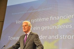 Press conference by Michel Barnier, Member of the EC, on the new framework for bank recovery and resolution. (EC Audiovisual Services)