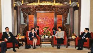 Liu Yandong, 2nd from the right, Markus Ederer, Head of the Delegation of the EU in China, 1st from the left, and Androulla Vassiliou, 2nd from the left. Androulla Vassiliou, Member of the EC in charge of Education, Culture, Multilingualism and Youth, embarked on a visit to Beijing. During her visit, Androulla Vassiliou met with Liu Yandong, Chinese State Councillor, to take stock of the results so far of the People-to-People Dialogue launched in April 2012. (EC Audiovisual Services).