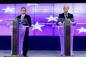 José Manuel Barroso, President of the EC (left), giving a joint press conference with Herman van Rompuy, President of the European Council on the results of the Extraordinary European Council on the Multiannual Financial Framework (MFF) 2014-2020. (EC Audiovisual Services)
