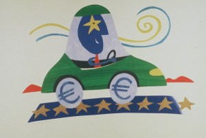 Original drawings by Albert Rocarols on the theme of the euro. (EC Audiovisual Services)