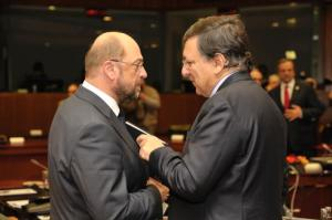 Discussion between Martin Schulz, President of the EP, on the left, and José Manuel Barroso, President of the EC, during the last European Council of December 2012. During the final joint press conference Barroso stressed that the financial sector also had to make a fair contribution to the recovery of Eurozone.  Then the EC decided the first step towards launching enhanced cooperation on a Financial Transactions Tax (FTT). (EC Audiovisual Services).