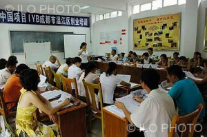 Classroom of the Employment & Training Centre of Wenjiang District. The centre promotes the SIYB (Start and Improve Your Business) program. This program, implemented by the ILO jointly with other international organizations, has created around 200 000 jobs all over China. Chengdu. China. (ILO photo gallery).
