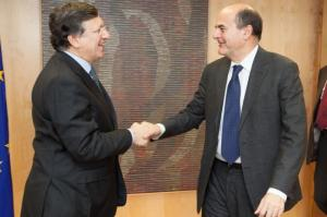 José Manuel Barroso, President of the EC (left), receives Pier Luigi Bersani, Secretary of the Italian Democratic Party. (EC Audiovisual services).
