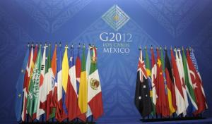 The G20 flags. This council brings together the world's major advanced and emerging economies.