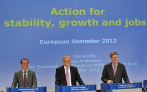 "EU Commissioners Olli Rehn (centre), Algirdas Šemeta (left) and László Andor give a joint press conference on ""Action for stability, growth and jobs: European Semester 2012""."