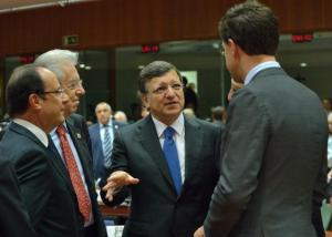François Hollande, President of the French Republic, Mario Monti, Italian Prime Minister; Minister for Economy and Finance, José Manuel Barroso, , President of the EC and Mark Rutte, Dutch Prime Minister, (from behind) met in Brussels for the European Council of December 2012 (in the foreground, from left to right). The European Council takes steps towards launching enhanced cooperation on a Financial Transactions Tax. (EC Audiovisual Services).