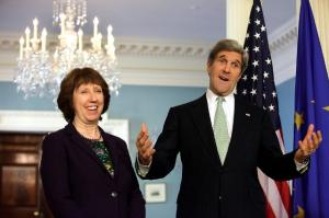 Catherine Ashton, the British High Representative of the European Union for Foreign Affairs and Security Policy and Vice-President of the EC, went to Washington where she met with John Kerry, US Secretary of State. (EC Audiovisual  Services). Ashton is visibly quite happy with what Kerry says. Probably Britain is closer to the US than to the EU.