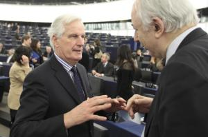 Michel Barnier, Commissioner responsible for Internal Market and Services (on the left). Participation of the European Commission College at the European Parliament plenary session of 04-07/02/13. (EC Audiovisual Services).