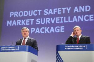 Antonio Tajani, Vice President of the European Commission in charge of Industry and Entrepreneurship, on the left, and Tonio Borg, Member of the EC in charge of Health and Consumer Policy gave yesterday a joint press conference on the Product Safety and Market Surveillance Package. (EC Audiovisual Services).