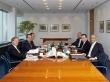 The Executive Board of ECB, (from right to left, around the table), Jörg Asmussen, Mario Draghi President, Peter Praet, Benoît Cœuré, Vítor Constâncio Vice-President, Yves Mersch. (ECB photo library).