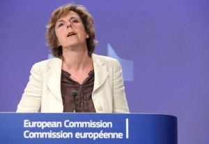 Connie Hedegaard, Member of the EC in charge of Climate Action, gave a press conference following the 2011 compliance round-up on emissions trading. (EC Audiovisual Services)