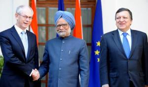 Council President Herman Van Rompuy (left) shakes hands with Indian Prime Minister Manmohan Singh (center) in presence of  European Commission President José Manuel Barroso. From the 12th annual summit between the EU and India, held in New Delhi on 10th February 2012. (Council of the European Union photographic library).