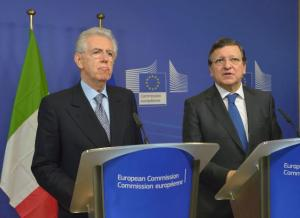 Mario Monti's (on ther left)  center party didn't manage to break the Italian political stalemate. (EC Audiovisual Services).
