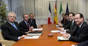 From left to right: Mr Mario Monti, Italian Prime Minister; Mr Ferdinando Nelli Feroci , Permanent Representative of Italy to the EU; Mr Mariano Rajoy, Spanish Prime Minister; Mr Francois Hollande, President of France. (Council of the European Union photographic library). 7.2.2013