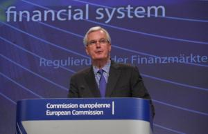 Press conference by Michel Barnier, Member of the European Commission, on taking action on shadow banking to avoid new sources of risk in the financial sector, 19/03/2012. (EC Audiovisual Services).