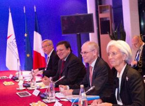 Jean-Claude Juncker, Prime Minister; Minister of State; Minister of Finance of Luxembourg, José Manuel Barroso, President of the EC,  Herman van Rompuy, President of the European Council and Christine Lagarde, Managing Director of the International Monetary Fund (IMF) (from left to right). (EC Audiovisual Services).