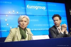 Christine Lagarde, Managing Director of the IMF (on the left),  Jeroen Dijsselbloem, President of the Eurogroup. 15/03/2013 (Council of the European Union, photographic library).