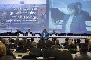 """Conference organised by the JRC """"Scientific Support to EU Growth and Jobs: Efficient buildings, vehicles and equipment"""", followed by the 2013 Greenlight Awards Ceremony. Máire Geoghegan-Quinn, Member of the EC in charge of Research, Innovation and Science in the podium. (EC Audiovisual Services)."""