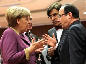 German Chancellor, Angela Merkel and French President, Francois Hollande holding a vivid discussion under the watchful eyes of the Belgian Prime Minister, Elio di Rupo (centre). (The Council of the European Union photographic library, 14-3-2013).