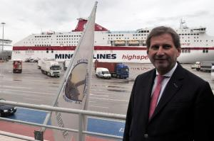 Visit of Johannes Hahn, Member of the EC, to Greece. The Commissioner posing in front of a liner. (EC Audiovisual Services).