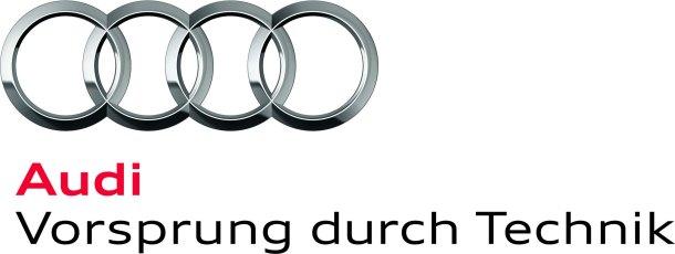 """Audi-Logo: Neues Corporate Design /Das neue Audi Markenlogo: Die Vier Ringe werden um den Markenkern """"Vorsprung durch Technik"""" erweitert"""