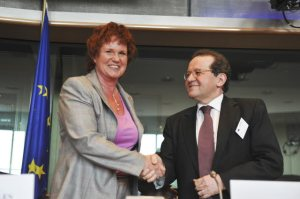 Sharon Bowles (ALDE, UK), chair of the Committee on Economic and Monetary Affairs of the European Parliament welcomes ECB's Vice-President Vitor Constancio in the EU's legislative, for the presentation of the ECB's annual report. (European Parliament photographic library).