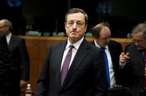 Mario DRAGHI, President of the European Central Bank, participated in the Eurogroup of 24.3.2013. Olli Rehn, Vice President of the European Commission is seen in the background (on the right). Council of the European Union Photographic Library).