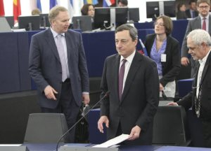 European Central Bank President Mario Draghi attends a European Parliament plenary session in Strasbourg, (European Parliament photographic library).