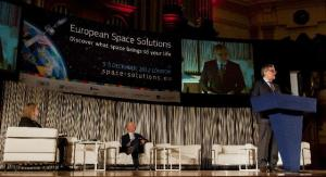 """Opening of the """"European Space Expo"""" in London by Antonio Tajani, Vice-President of the European Commission. There he pronounced a speech entitled """"European Space Solutions"""". (EC Audiovisual"""
