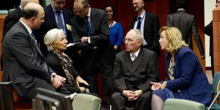 From left to right: Pierre Moscovici, French Minister of Finance, Christine Lagarde, Managing Director of the IMF, Wolfgang Schauble, German Federal Minister for Finance, Maria Fekter, Austrian Federal Minister for Finance. Eurogroup of 24/03/2013. (Council of the European Union photographic library).
