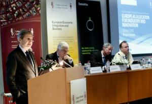 Johannes Hahn, Member of the European Commission in charge of Regional Policy, held the opening speech at the 4th Bruges European Business Conference, organised at the College of Europe of Bruges, (EC Audiovisual Services, 23/04/2013).