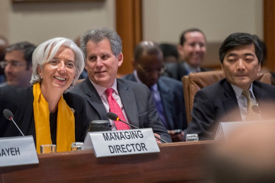 (L-R) International Monetary Fund Managing Director Christine Lagarde, IMF First Deputy Managing Director David Lipton, and IMF Deputy Managing Director Naoyuki Shinohara at IMF Headquarters on April 21, 2013 during the 2013 IMF/World Bank Spring Meetings in Washington, D.C. (IMF Staff Photo/Michael Spilotro).