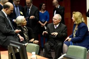 From left to right: Pierre Moscovici, French Minister of Finance,  Christine Lagarde, Managing Director of the IMF, Wolfgang Schauble, German Federal Minister for Finance, Maria Fekter, Austrian Federal Minister for Finance. Eurogroup of 24/3/2013, (Council of the European Union photographic library).