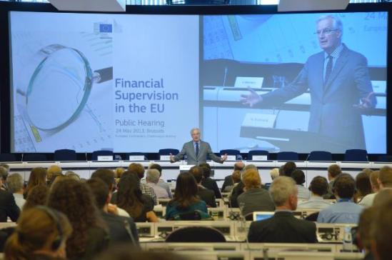 Participation of Michel Barnier, Member of the EC in charge of Internal Market and Services at the public hearing on Financial Supervision in the EU. (EC Audiovisual Services, 24/05/2013).