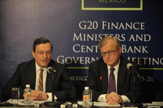 Olli Rehn, Vice-President of the EC in charge of Economic and Monetary Affairs and the Euro (on the right), gave a joint press conference on the meeting of the G20 Ministers for Finance with Mario Draghi, President of the European Central Bank (ECB). (EC Audiovisual Services).