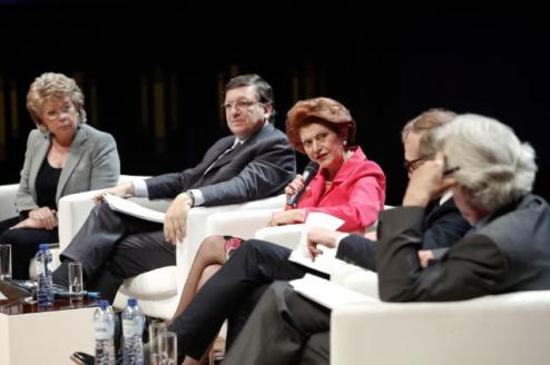 "José Manuel Barroso, President of the European Commission (second from left), Viviane Reding, Vice-President of the EC in charge of Justice, Fundamental Rights and Citizenship (first from left), Androulla Vassiliou, Member of the EC in charge of Education, Culture, Multilingualism and Youth (holding the microphone), participated in the launch of the ""New Narrative for Europe"" project. The project aimed to encourage greater involvement of European intellectuals in the creation of a genuine European public space. (EC Audiovisual services)."