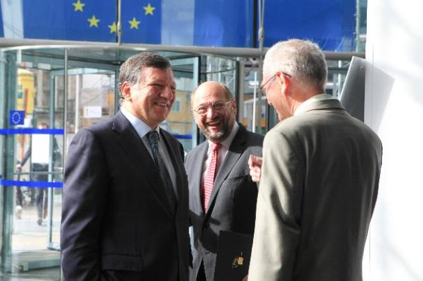 "José Manuel Barroso, President of the European Commission, participated in the ""Jobs for Europe"" conference with Martin Schulz, President of the European Parliament and Herman van Rompuy, President of the European Council, (from left to right). (EC Audiovisual Services)."