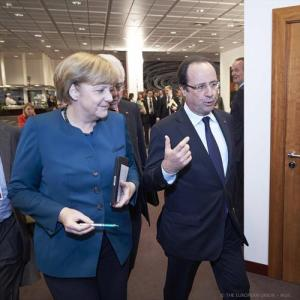 Angela Merkel, German Federal Chancellor (on the left) and Francois Hollande, President of France in the European Council, meeting of 22 May. (EC Audiovisual Services, 22/5/2013)