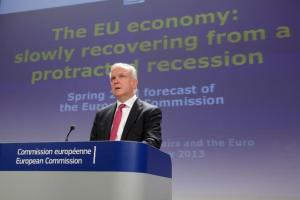 Olli Rehn, Vice-President of the EC in charge of Economic and Monetary Affairs and the Euro, gave a press conference on the 2013 spring economic forecast. (EC Audiovisual Services).
