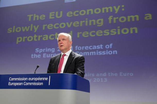 Olli Rehn, Vice-President of the EC in charge of Economic and Monetary Affairs and the Euro, gave a press conference on the 2013 spring economic forecast. (EC Audiovisual Services, 03/05/2013).