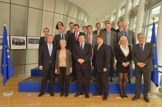 (from left to right), in the 1st row: Hans-Joachim Reck, President of the European Centre of Employers and Enterprises providing Public services (CEEP), Bernadette Ségol, General Secretary of the European Trade Union Confederation (ETUC), José Manuel Barroso, President of the European Commission (EC), Markus Beyer, Director General of BusinessEurope, Gunilla Almgren, President of the European Association of Craft, Small and Medium-sized Enterprises (UEAPME), and Antonio Tajani, Vice-President of the EC in charge of Industry and Entrepreneurship, in the 2nd row: Algirdas Šemeta, Member of the EC in charge of Taxation and Customs Union, Audit and Anti-Fraud, Andris Piebalgs, Member of the EC in charge of Development, Maroš Šefčovič, Vice-President of the EC in charge of Inter-Institutional Relations and Administration, Patrick Itschert, Deputy General Secretary of the ETUC, Janez Potočnik, Member of the EC in charge of Environment, and Michel Barnier, Member of the EC in charge of Internal Market and Services, in the 3rd row: Cecilia Malmström, Member of the EC in charge of Home Affairs, Günther Oettinger, Member of the EC in charge of Energy, Kristalina Georgieva, Member of the EC in charge of International Cooperation, Humanitarian Aid and Crisis Response, Johannes Hahn, Member of the EC in charge of Regional Policy, László Andor, Member of the EC in charge of Employment, Social Affairs and Inclusion, hidden, and Tonio Borg, Member of the EC in charge of Health and Consumer Policy. (EC Audiovisual Services).