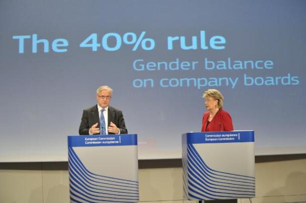 Joint press conference of Viviane Reding and Olli Rehn, Vice-Presidents of the European Commission, on the proposal of the EC on increasing Gender Equality in the Boardrooms of Listed Companies, (EC Audiovisual Services).
