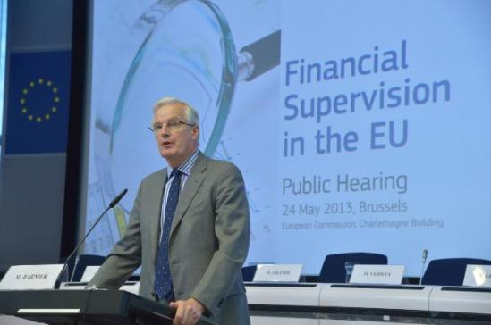 Michel Barnier, Member of the EC in charge of Internal Market and Services, participated in the public hearing on financial supervision in the EU which was organised in Brussels. (EC Audiovisual Services, 24/5/2013).
