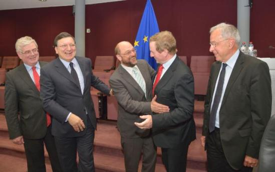 José Manuel Barroso, President of the European Commission (second from left), received Martin Schulz President of the European Parliament (in the middle), Enda Kenny, Irish Prime Minister and President in office of the Council of the EU (second from right), and Eamon Gilmore, Irish Deputy Prime Minister and Minister for Foreign Affairs and Trade (first from left) and Alain Lamassoure, Member of the EP (first from right) . They gathered for a discussion on the Multi-Annual Financial Framework (MFF) 2014-2020 and on an amending budget for 2013. (EC Audiovisual Services 06/05/2013).
