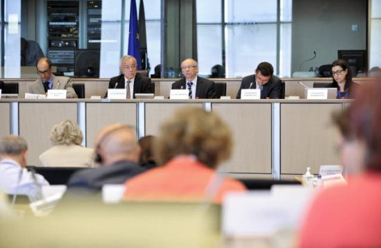 European Parliament BUDG Committee Meeting: 2014 budget Presentation. Alain Lamarousse, Budgets Committee chair (second from left), Janusz Lewandowski, Commissioner in charge of Financial Programming and Budget (third from left). (European Parliament Audiovisual Services, 26/6/2013).